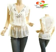 Ivory Victorian Faux Silk Chiffon Ruffle Stud Flutter Peasant Blouse Top S M L