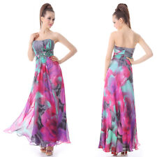 Ever Pretty Padded Rhinestones Ruffles Printed Strapless Evening Dress 09203