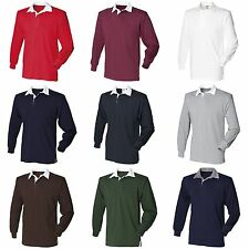 (Free PnP) Front Row Mens Long Sleeve Sports Rugby Polo Shirt 13 Colours S-3XL