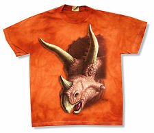 """THE MOUNTAIN """"TRICERATOPS"""" BURNT ORANGE T-SHIRT NEW OFFICIAL YOUTH KIDS DINOSAUR"""