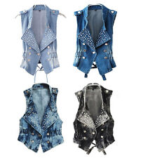 Womens Gothic Punk Studded Beads Denim Vest Jean Waistcoat Outerwear Vest Coat