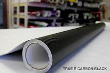 True R Black Carbon Fiber Vinyl Decal with Air Release for Car Bike Boat