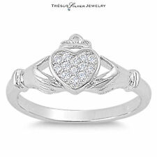 irish claddagh cz zirconia sterling silver band wedding ring size 5 6 7 8 9 10