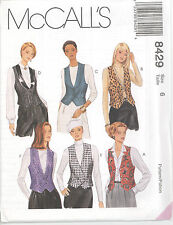 McCall's 8429  Misses' Lined Vests   Sewing Pattern