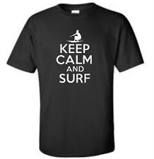 Keep Calm And Surf T-Shirt Surfer Surfing Mens Tee