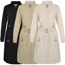 Miss Posh Ladies Long Coat Jacket Womens Trench Mackintosh Mac Sizes 8-14