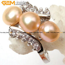6-7mm Cultured Pearl Beads White Gold -plated Ring US#7-#9,Size Send By Rondom