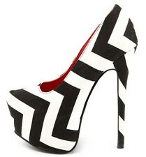 Aisha-6 Black White Chevron Platform Pump Stiletto Heels