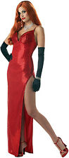 Womens HOT Jessica Rabbit Long SEXY MOVIE STAR Starlet Costume RED DRESS S M L