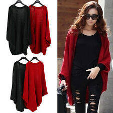 Hot Women Oversized Loose Knitted Sweater Batwing Sleeve Tops Cardigan Shawl