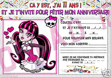 CARTES INVITATION ANNIVERSAIRE MONSTER HIGH 11 ANS - PAPIER 250GR