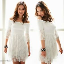 Womens Sweet Off Shoulder Mini Dress Long Top Layered Lace 3/4 Bell Sleeve White