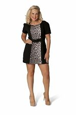 Nouvelle Womens Plus Size Ponte Panelled Belted Leopard Print Tunic Top