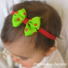 RED & GRINCH GREEN CHRISTMAS DOTS DAINTY HAIR BOW LACE HEADBAND HOLIDAY ADORABLE