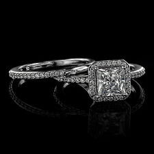 1.96Ct Princess Cut Engagement Ring & Matching Band Available in 14K or 18K Gold