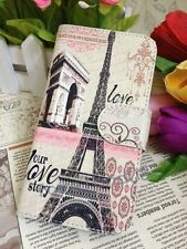 Romantic Paris Eiffel & Our Love Story Flip Leather Case for HTC Sony Mobiles