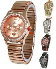 AN London Expandable/Stretch Band & Stone Set Bezel Dial Ladies Watch-AN4122