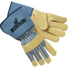 "1 Case Mustang Leather Palm Gloves 4 1/2"" Gauntlet Cuff NEW (12 Pairs) ! NEW"