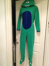 GREEN DINOSAUR ONESIE/ALL IN ONE/SLEEPSUIT.SIZES 9-10 11-12 AND 13 YEARS