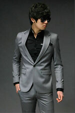 Men's Stylish Fashion Slim Fit One Button Formal Dress Suit IN Black Grey 2color