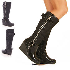 LADIES WOMENS LOW WEDGE HEEL FAUX LEATHER KNEE HIGH QUILTED BOOTS SHOES SIZE 3-8