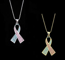 LIGHT BLUE PINK RIBBON BOW PREGNANCY INFANT LOSS MISCARRIAGE AWARENESS NECKLACE