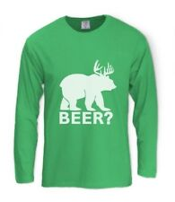 BEER deer bear Long Sleeve T-Shirt Party Hunting Humor Drinking College Alcohol