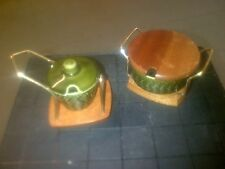 CROWN DEVON / WYNCRAFT SAUCE POTS & STANDS - CHOICE OF 2 - MINT or APPLE