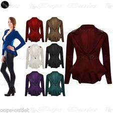 New Womens Spikes Peplum Ladies One Button Long Sleeves Jacket Coat Blazer Top