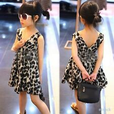 Baby Kids Girls Leopard One Piece Dress V-neck Skirts Clothes Chiffon Party 2-6T