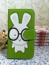 Honey Rabbit in Glass Flip Pouch Case for Apple Samsung Card Slot & Camera Hole