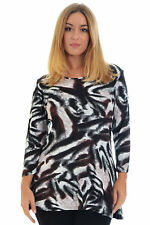 New Womens Top Warm Tunic Ladies Plus Size Tiger Animal Abstract Long Nouvelle