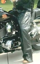 Black Buffalo Leather Motorcycle Riding Chaps Lined Men Women Unisex