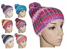Womens Ladies New Colourful Knitted Bobble Hat Woolly Beanie Winter Warm Fashion