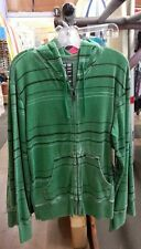 Authentic Billabong Conscript Full Zip Hoodie Sweatshirt Green Stripe, New