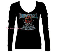 NEW Rhinestone Junior V Neck BASKETBALL MOM Black Long Sleeve T Shirt S-3X Bling