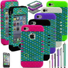 Hybrid Polka Dots Combo Rubber Hard Case Cover for iphone 4 4G 4S w/Screen Guard