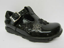 Girls Clarks Lights First Shoes Black Patent Leather T-Bar Shoes ELLA GLITZ