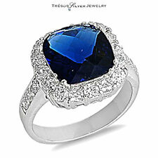 womens faceted sapphire clear cz stone sterling silver ring size 5 6 7 8 9 10