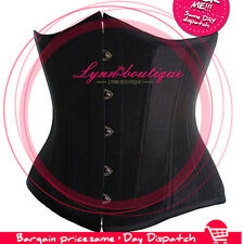 Black Goth Underbust Cupless Waist Training Corset Bustier Top S-6XL