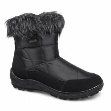Womens Ladies Faux Fur Suede Zip Comfy Soft Warm Casual Ankle Winter Boots Black