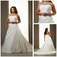 OEM Cheap Satin Pleated Strapless Stunning Wedding Dress Plus Size FreeShipping