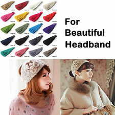 20 color Women Crochet Headband Knit hairband Flower Winter Ear Warmer Headwrap
