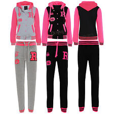 Kids Girls Boys Baseball Hoody Hoodie Neon Running Jogging Jumpsuit Tracksuit