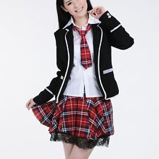 ... School Girl Uniform Cosplay Costume Red Tartan Skirt Surcoat Shirt+Tie