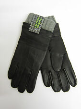 Mens RJM Accessories Black Sheepskin Leather Gloves with Grey Knitted Cuff GL390