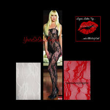 Plus Size LACE BODYSTOCKING Crotchless ROMANTIC ROSE Print TANK STYLE Queen