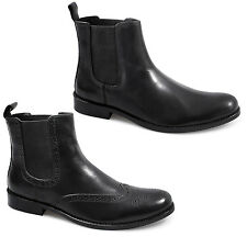 Lucini Mens Leather Slip-On Brogue/Plain Casual Smart Ankle Chelsea Boots Black