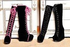 Women Platform Wedge Lace Up Round Toe High Heel Ankle Boots Girl's Party Shoes
