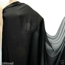 0.5 Yard (Black ) Pure Silk Georgette Sheer Crepe Chiffon Fabric 140cm(#Black)